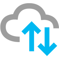 Colour version of a graphic depicting a cloud with a down and an up arrow, representing ADX